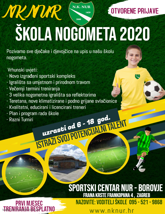Poziv na upis u školu nogometa NK NUR